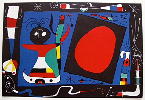 (Art by Joan Miro Woman At The Mirror Limited Edition Plate Signed Lithograph Print. After the Original Painting or Drawing. Measures 11-1/4 Inches X 16-3/4 Inches)