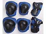Wetietir Skating 6 Pcs/Set Kid's Protective Gear Set with Elbow Knee Handguard for Roller Skating Skateboard BMX Scooter Cycling (Black Blue S) for Protection