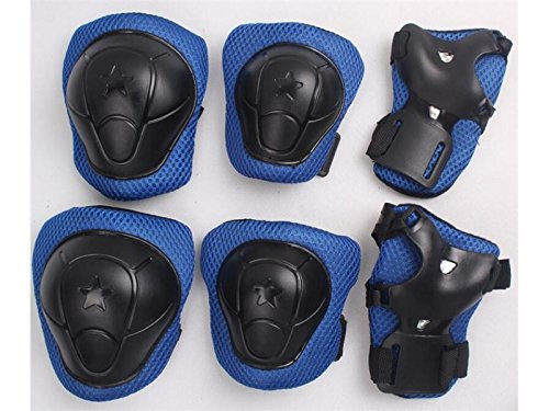 Wetietir Skating 6 Pcs/Set Kid's Protective Gear Set with Elbow Knee Handguard for Roller Skating Skateboard BMX Scooter Cycling (Black Blue L) for Protection by Wetietir