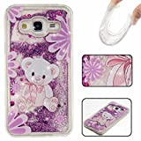 KSHOP Samsung Galaxy A3(2016)A310 Case, Glitter Case 3D Creative Luxury Bling Glitter Floating Liquid Case Infused with Glitter Heart Moving Quicksand Soft TPU Bumper PC Back Hybrid Shockproof Protection Case Cover for-Purple bear