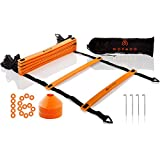 Premium Agility Ladder (20ft) and Field Cones (16) - Speed Training Equipment for Football, Soccer & Other Sports - Set of 4 Metal Pegs & Carrying Bag