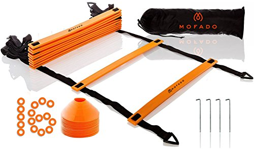 Premium Agility Ladder and Cones - 16 Field Cones - 12 Rung Speed Ladder - 20ft Length - Speed Training Equipment for Football, Soccer & Other Sports - Set of 4 Metal Pegs & Carrying Bag