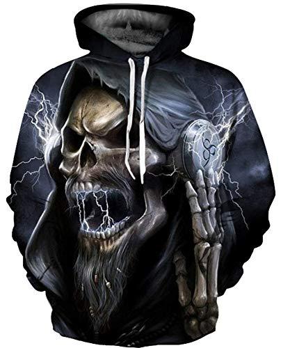 NAYINLAN Men Women Unisex Couple Novelty 3D Skeleton Printed Pullover Hoodies Hooded Sweatshirts,S/M -