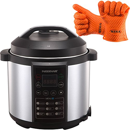 Farberware Large 6 Quart Digital LED Display High Pressure Cooker, Stainless Steel with Heat Resistant Silicone Gloves
