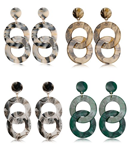 FIBO STEEL 4 Pairs Acrylic Dangle Earrings for Women Circle Hoop Drop Fashion Earring (Circle Hoop Dangle)