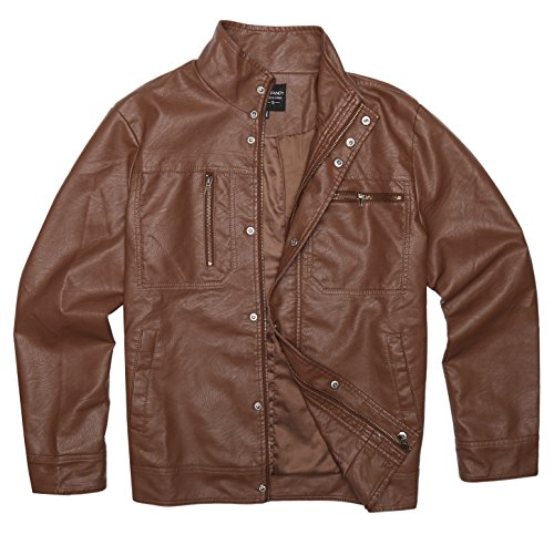 COOFANDY Men's Classic Slim Fit Faux Leather Jacket Vintage PU Moto Biker Bomber (Classic Leather Bomber)