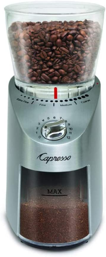 Renewed Capresso 575.05 Infinity Plus Conical Burr Grinder with Large Bean Container