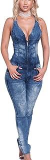 Mamelucos de Mezclilla sin Mangas de Verano de Las Mujeres Mamelucos de los Pantalones Vaqueros de Bodycon de V-Nech de la Moda
