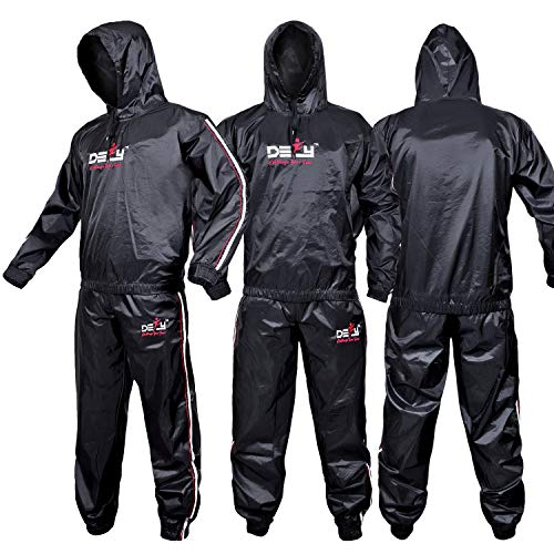DEFY Heavy Duty Sweat Suit Sauna Exercise Gym Suit Fitness, Weight Loss, Anti-Rip, with Hood (5XL) (5xl Sauna Suit)