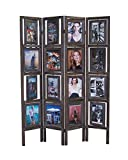 Proman Products Oscar II Picture Folding Screen Wood in Torched Brown