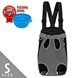 [Upgrade the Sizing Chart] Legs Out Front Pet Dog Carrier Backpack with Tail Hole | HandsFree Traveling Dog Cat Pet Bag for Hiking Camping with Adjustable Strap | Feeding Bowl Included