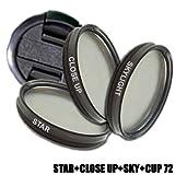 DynaSun Kit Pro 72mm Sternfilter mit Skylight, Makrolinsen Nahlinsen und Objektivdeckel Schutz-Deckel für Gewinde