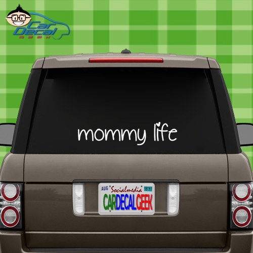 (Mommy Life Mom Vinyl Decal Sticker for Car Truck Window Laptop MacBook Wall Cooler Tumbler | Die-Cut/No Background | Multiple Sizes and Colors, 20-Inch, White)