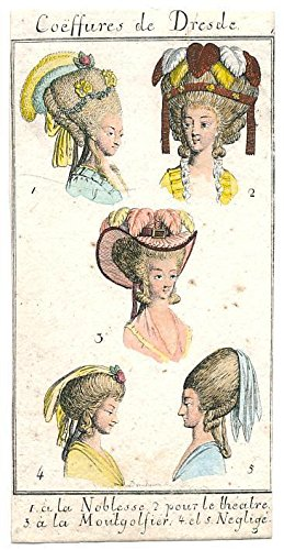 Hats & hair styles women of Dresden charming 19th century miniature print (Best Hairstyle For Female)