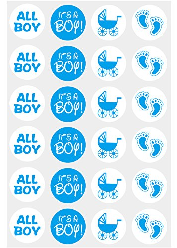 Boy Candy - wootile 3/4 Inch Baby Shower Candy Stickers, Fits Hershey's Kisses Party Favors, Boy Baby Blue Stickers, 312 Round Labels