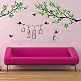 Custom PopDecals - Tree Branch with Photo Frame - Beautiful Tree Wall Decals for Kids Rooms Teen Girls Boys Wallpaper Murals Sticker Wall Stickers Nursery Decor Nursery Decals