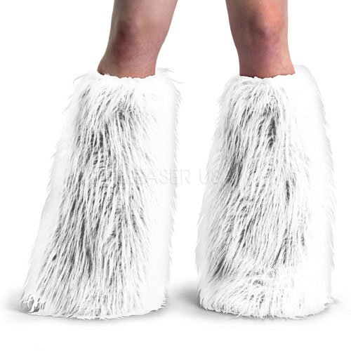 Pleaser YETI01_W_FUR-1 Adult Faux Fur Boot Sleeve and Leg Warmer, White (Faux Boot Fur Sleeve)