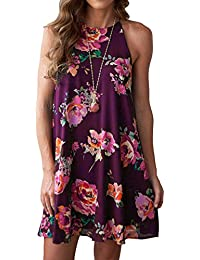 Women's Halter Neck Boho Floral Print Loose Casual...
