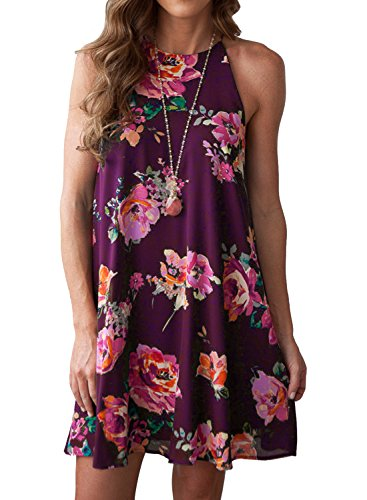 MITILLY Women's Halter Neck Boho Floral Print Chiffon Casual Sleeveless Short Dress Small Purple -
