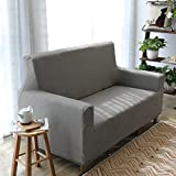 DW&HX Waterproof Stretch Sofa Cover,Linen Dirt-Proof Non-Slip Furniture Protector for pet Dog Kids Sofa slipcover-Grey Linen 28-35inch(70-90cm)
