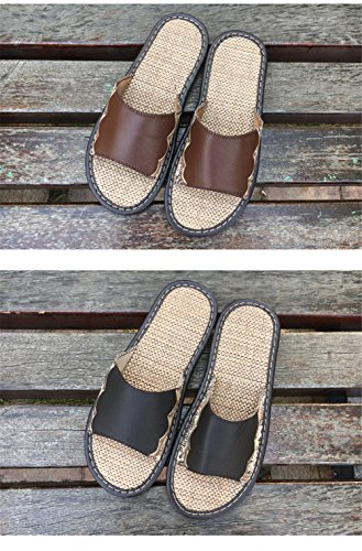 Wooden Summer Men Anti M Corium for Cowhide Spring Leather Slippers Caf¨¦ TELLW Autumn Smelly Floor Women 71AA8