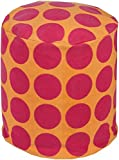Surya PHPF014-181818 100-Percent Cotton Pouf, 18-Inch by 18-Inch by 18-Inch, Magenta/Tangerine