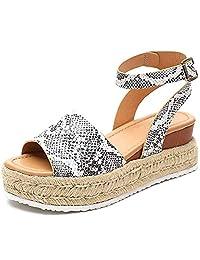 Women's Platform Sandals Espadrille Wedge Ankle Strap Studded Open Toe Summer Sandals