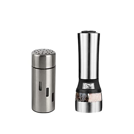 2pc Salt Pepper Mill Set Electric Grinder Stainless Steel Shaker Electronic Tool