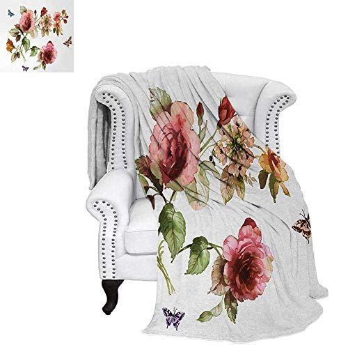 (Throw Blanket Shabby Chic Roses Buds Leaves Tulips Floral Details Butterfly Natural Eco Print Velvet Plush Throw Blanket 50