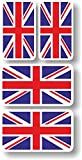 union jack helmet - Vinyl sticker/decal Extra small 45mm & 35mm Union Jack flags - group of 4