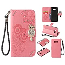 Glitter Diamond Wallet Samsung Galaxy S8 Case,Ostop Pink PU Leather Embossed Flower Luxury Stand Purse,3D Owl Bling Rhinestone Crystal Magnetic Closure Flip Cover,Credit Card Holder Shell
