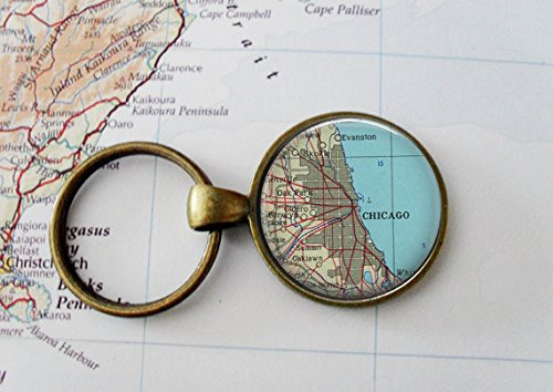 CHICAGO USA Map Key Chain, round shape, or You choose the special place in the - Place Tower Chicago