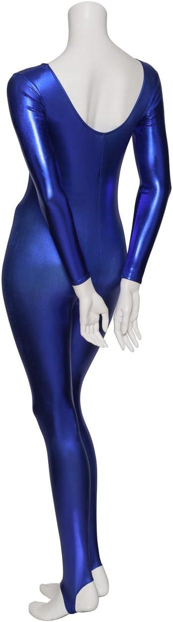 Vincenza Dancewear Ladies Girls Childrens Sizes Shiny Stirrup Dance Fancy Dress Gymnastics Long Sleeve Unitard Catsuit
