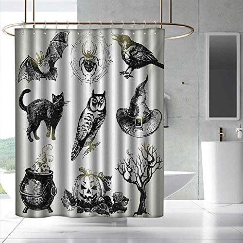 Fakgod Vintage Halloween Fabric Shower Curtain Halloween Related Pictures Drawn by Hand Raven Owl Spider Black Cat Shower Curtains in Bath W48 x L72 Black White]()