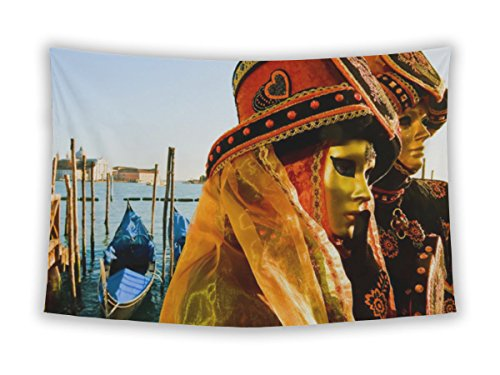 Costume De Carnaval Couple (Gear New Wall Tapestry For Bedroom Hanging Art Decor College Dorm Bohemian, Traditionally Dressed Venice Carnival Couples Piazzsan Marco, 80x68)