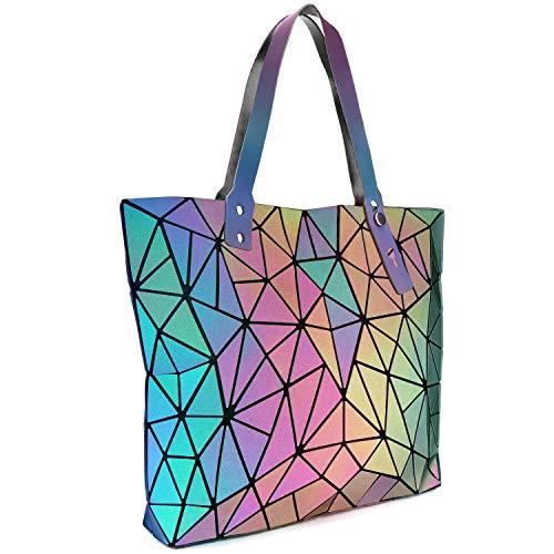 Tikea Geometrische Shopper Leuchtende Handtasche Holographische Einkaufstasche Kunstleder Umhängetasche Schultertaschen Vielseitig Top-Griff Tasche für Frauen Leuchtend