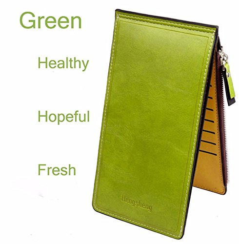 Money coming shop Candy Color PU Leather Purses Women Men Thin Long Clutch Wallet Double Zippers Silm Hasp Wallets Credit Card Holder Coin Purse(Green) (Amazon Credit Card Account)