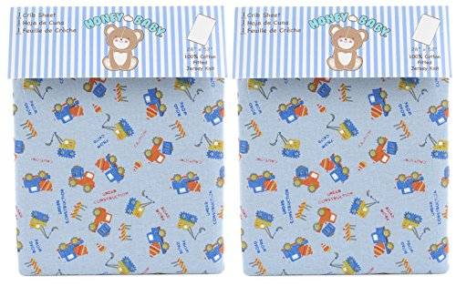 Honey Baby Road Work Toddler Bed or Crib Sheets 2-Pack (100% - Flat Sheet Crib