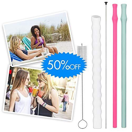 Houselog Boba straws,Bubba Straws,Reusable Boba Tea Bubble Tea Straws,Collapsible Bubble Straws Recycle,Silicone Straws for Drinking and Milkshake
