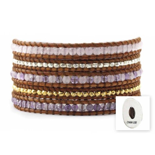 Luu Chan Lavande Mix Jade 5 Motif pour Bracelet en cuir naturel Marron