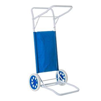 Carro portasillas Plegable de Playa Azul de Acero Garden ...