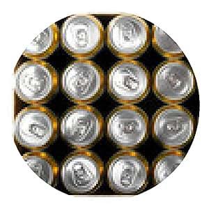 alfombrilla de ratón caja de latas de cerveza aislado en blanco - ronda - 20cm