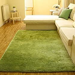 ACTCUT Super Soft Indoor Modern Shag Area Silky Smooth Rugs Living Room Floor Mat/Cover Carpets Floor Rug Area Rug 4- Feet by 5- Feet (Green)