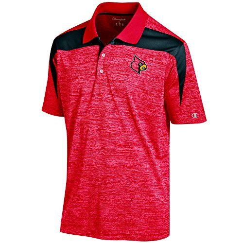 NCAA Louisville Cardinals Men's Boosted Stripe Color Blocked Polo, X-Large, Red