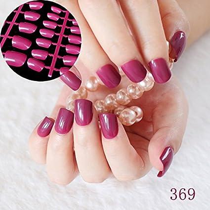 Juego de 24 uñas postizas planas, color morado oscuro, rojo, tamaño mediano,