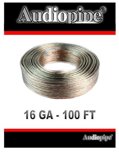 100FT 16 Gauge Audiopipe Clear Speaker Wire Copper Clad Audio Cable