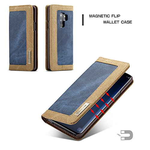 XHD-Fall Für Samsung Galaxy S9 Plus PU-Leder-Schlag-Fall-harte PC-rückseitige Abdeckung mit magnetischer Standplatz-Mappen-Kasten-Abdeckung Mode & einfach ( Color : Blue ) Blue
