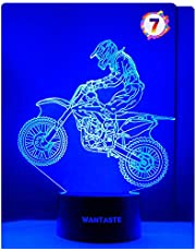3D Motocross Lamp Optical Illusion Night Light for Room Decor & Baby Nursery Cool Gifts for Kids Boys & Sports Guy 7 Color Changing Toys with Battery Backup by WANTASTE