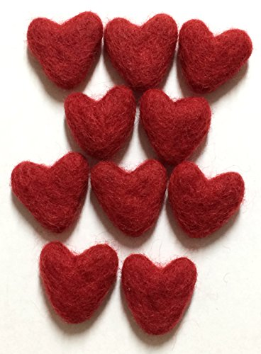 Yarn Place Felt Wool Felted Sculpted Hearts 16 pcs (Red)