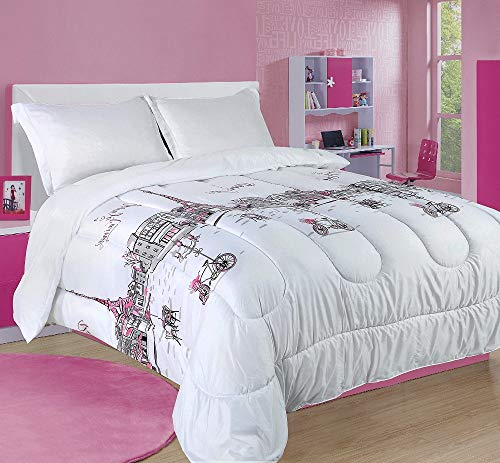 2 Piece Paris Comforter Twin Set, Soft Snow White Bedding Set, Urban Design Eiffel Tower City Life Parisian Scene French Buildings Street Cafes Shades Cycle Baby Pink Gray Durable Comfy Girls Bedding